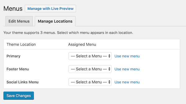 Assign a location to your new menu