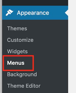 Appearance / menus menu in the WordPress dashboard