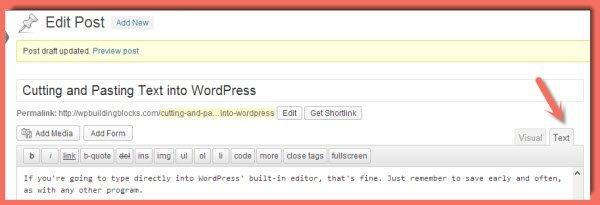 WordPress Text Editor - use this to paste test into WordPress
