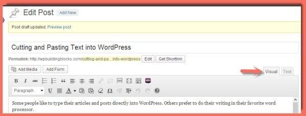 WordPress Visual Editor - don't use this to paste text into WordPress