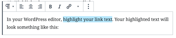 highlight the word(s) you want to link to